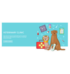 Vet clinic banner horizontal man cartoon style vector