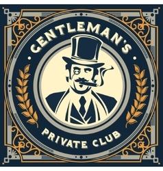Vintage gentleman emblem signage vector