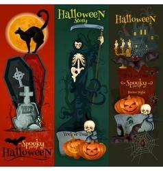 Halloween celebration decorative greeting cards vector image