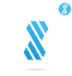 Striped s letter sign vector image