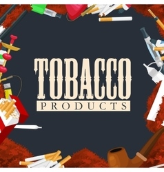 Smoking tobacco products icons set with cigarettes vector