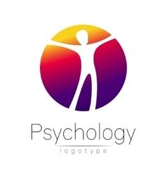 Modern man logo of psychology human in a circle vector