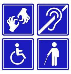 Disabled signs deaf blind mute and wheelchair vector