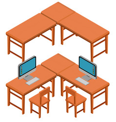 3d design for tables and chairs vector image