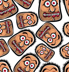 Faces seamless background cartoon style pattern vector