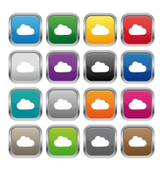 Cloud metallic square buttons vector