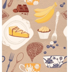 Card with cupcakes tea fruits vector