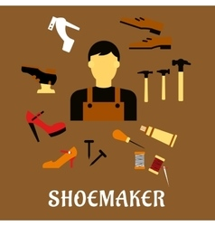 Shoemaker with tools and shoes in flat style vector image
