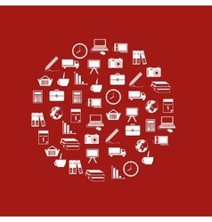 business icons in circle vector image