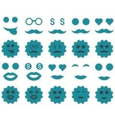Tool gear smile emotion icons vector