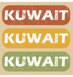 Vintage kuwait stamp set vector