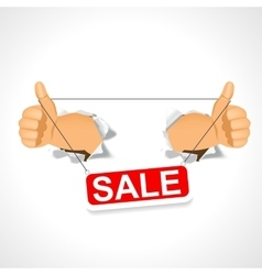 Man holding a sale banner in his two hands vector