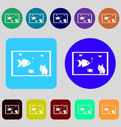 Aquarium fish in water icon sign 12 colored vector