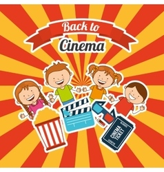Kids moviegoers vector
