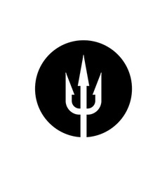 Trident icon white on a black round background vector