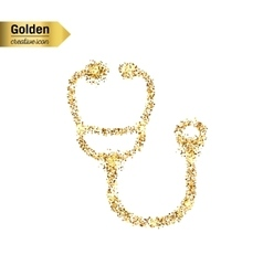 Gold glitter icon of stethoscope isolated vector