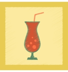 Flat shading style icon glass of cocktail vector