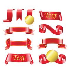 award ribbon - realistic set of red bands vector image vector image