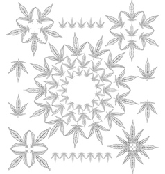 Cannabis outline pattern vector