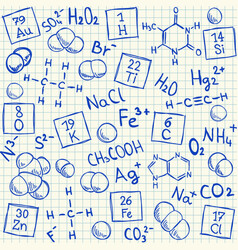 Chemical doodles on school squared paper vector image vector image