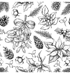 Christmas botanical seamless pattern Hand drawn vector image vector image