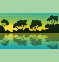 collection jungle beauty landscape silhouette vector image