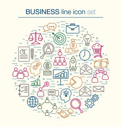 Collection of thin line bussines icon vector