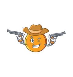 Cowboy orange fruit cartoon character vector