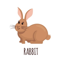 Cute rabbit in flat style vector image