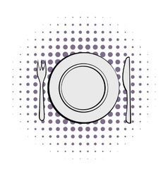 Cutlery set with plate comics vector