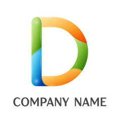 D letter colorful logo vector