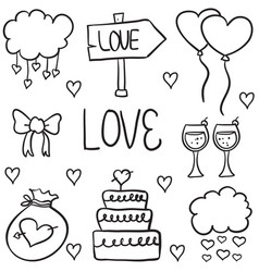 Doodle of element wedding style art vector