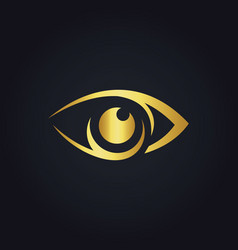 eye vision icon gold logo vector image