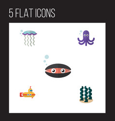 Flat icon marine set of scallop alga periscope vector
