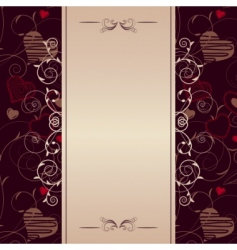 frame with stylized hearts vector image
