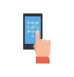 Hand performing touch gesture to unlock phone vector image vector image