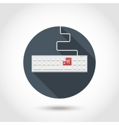Keyboard with red button add to shopping cart vector