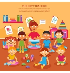 Kids teacher poster vector