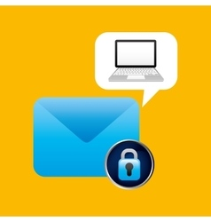 Laptop padlock email data secure vector