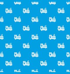 locomotive pattern seamless blue vector image vector image