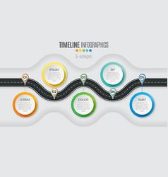 Navigation map infographic 5 steps timeline vector