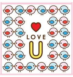 Pattern Couple Bird Love U vector image