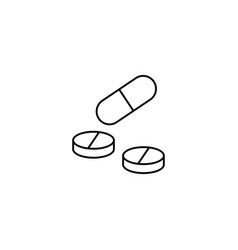 Pills and tablets line icon medicine vector