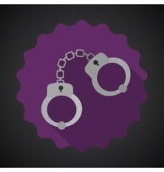 Police cuffs flat icon background vector
