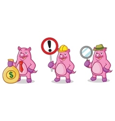 Purple Pig Mascot with sign vector image
