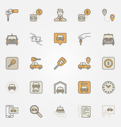 Rent a car colorful icons vector