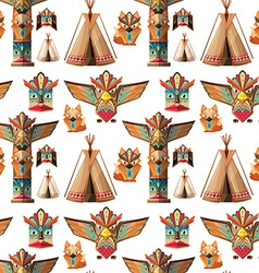 Seamless background with totem poles vector