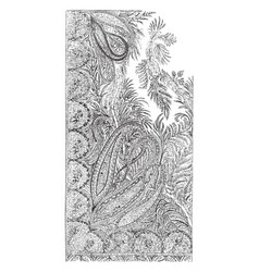 Shawl is long in length in a paisley designits a vector