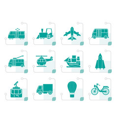 stylized travel and transportation icons vector image