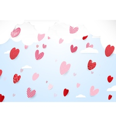 Valentines day background cute hearts and falling vector